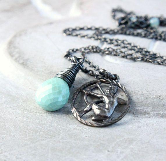 Sagittarius  Necklace Turquoise  Gemstone Jewelry Zodiac by Hildes