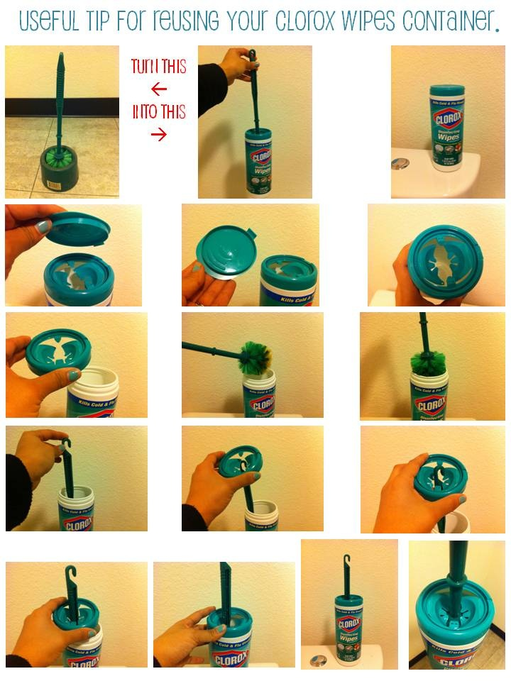 Don't throw away your Clorox wipes container. Reuse it to store your toilet brush cleaner. Once you are done with all the wipes, don't throw away the extra liquid that is in it, instead use the container w/ liquid to disinfect & store your brush. Even better, it will keep your kids little hands from accidentaly grabbing the toilet brush, because the brush won't be exposed until it is ready to use, you simply take the cap off & use the brush.Optional Add more disinfecting liquid to the…