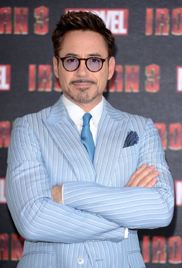 Iron Man 3 - Robert Downey Jr has a blue tinted lens to match his suit.