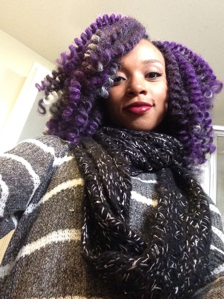 Purple crochet braids using Marley hair #purple #grey