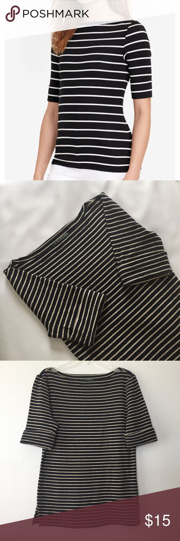 ❗️Ralph Lauren bateau shirt❗️ A bateau neckline, dark blue/gold color and a slim fit define this LRL T-shirt's sleek style. Elbow-length sleeves with fold-over cuffs. Bust 34. Length 23. Lauren Ralph Lauren Tops Tees - Short Sleeve
