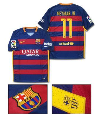 【No.11 NEYMAR JR 】 NIKE 15/16 FC バルセロナ ホーム 半袖 フルマーキング ユニフォーム