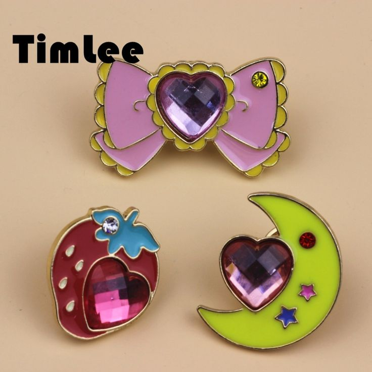 X045  Free shipping Cute Fruit Strawberry Moon Bowknot Girl Gift Brooch Pins,Fashion Jewelry Wholesale