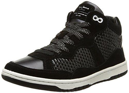 Pepe Jeans Lindsay Woven, Damen Sneaker  Schwarz Noir (999Black) 40 - http://on-line-kaufen.de/pepe-jeans/40-eu-pepe-jeans-lindsay-woven-damen-sneaker