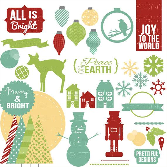 Christmas Clip Art perfect for Holiday Cards. Comes in many color variations.