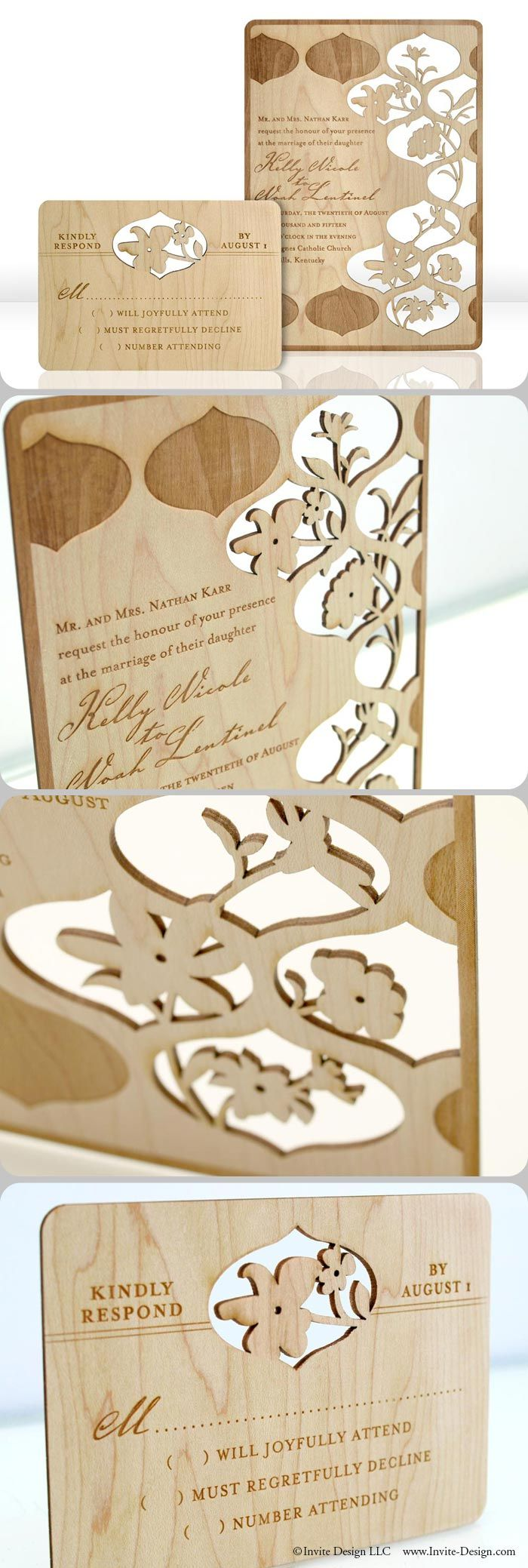 "Laser cut wood wedding invitations. These floral wedding invitations and accompanying response cards feature stunning engraved detail. Laser cut into 1/16"" wood planks. http://www.invite-design.com/#!product/prd12/4250380315/trellis-invitation-with-rsvp"