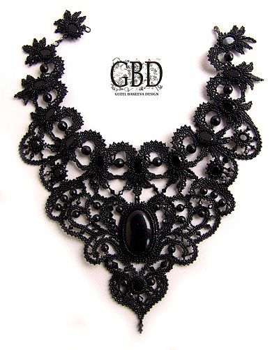~~ take black lace ~ and just keep adding beads until you're pleased with the result ~ what a fabulous idea! ~~