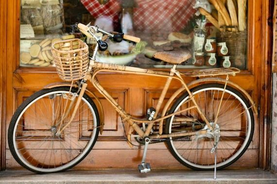 Old Wooden Bicycle at Delicacy Shop