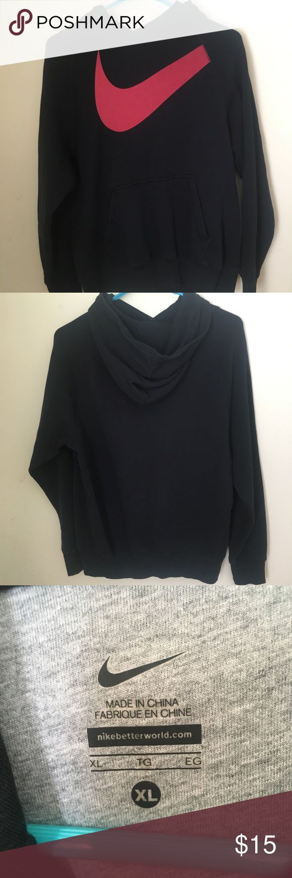 Nike hooded Sweatshirt. Excellent Condition. Black Nike Sweatshirt with red Nike sign. Sweatshirt is a size boys' XL but will also fit up to a small women's size Medium. Perfect condition. No flaws. Comfy casual sweatshirt for fall. Nike Shirts & Tops Sweatshirts & Hoodies