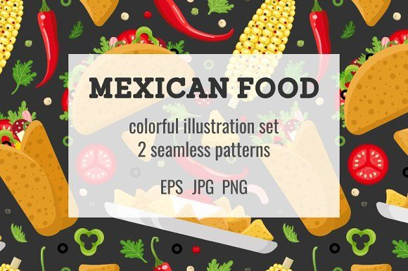 Mexican food set and patterns by primula on @creativemarket
