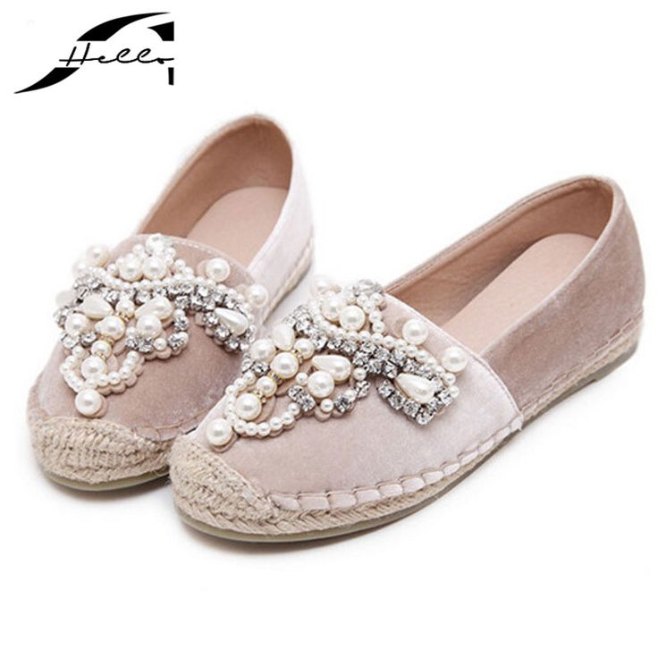 2017 Spring Autumn Women loafer Round Toe espadrilles Pearl Comfortable Hemp Bottom Frisherman Shoes Slip On Zapato Mujer Black