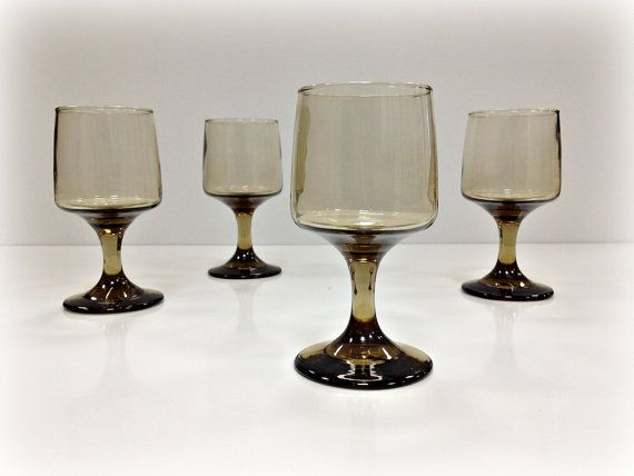 vintage wine glasses smoke glass libbey accent - Libbey Glassware