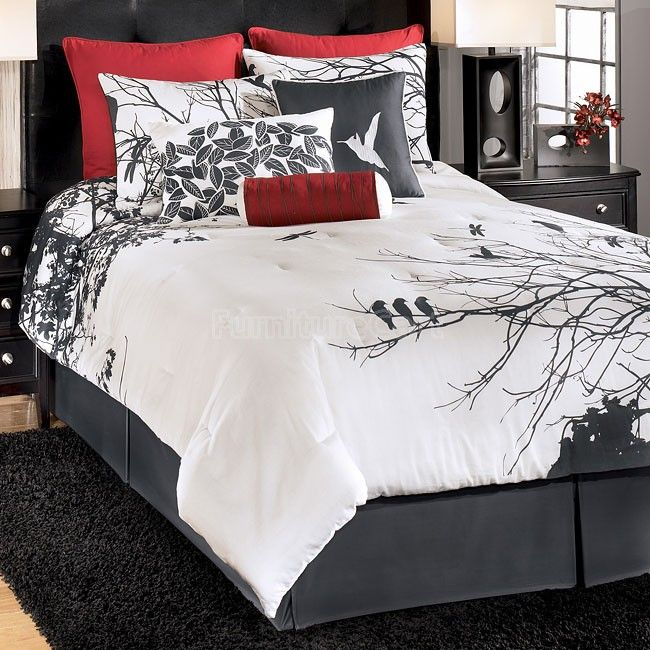 Ashley Amalia Red King 9 Piece Bed In A Bag By Ashley Bedding Bedding : The  Home Decorating Company