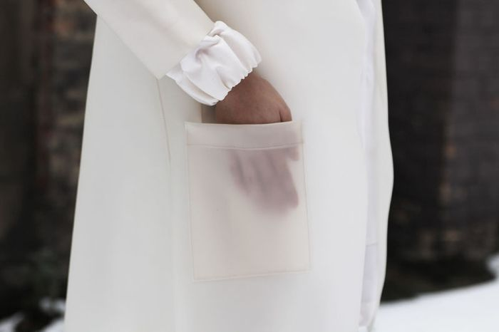 White Latex Coat with sheer pocket detail; contemporary fashion design details // Michael Angel