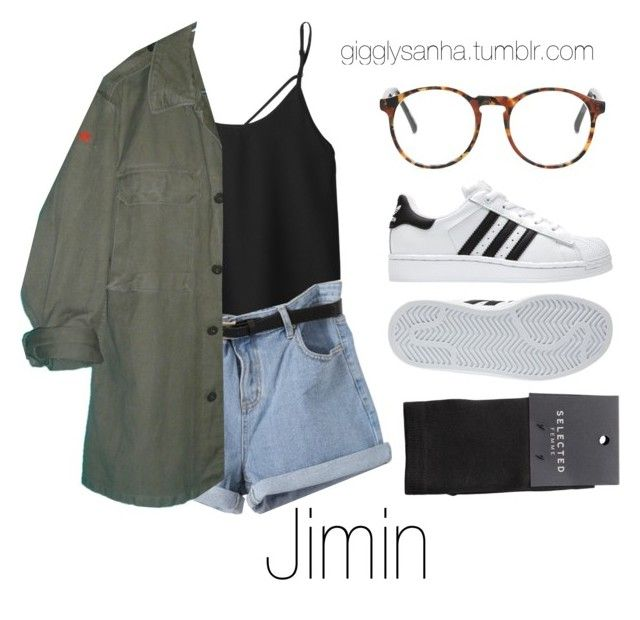 """""""Local Concert Date // Jimin"""" by suga-infires ❤ liked on Polyvore featuring adidas and SELECTED"""
