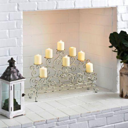 Antique White Double Fireplace Candelabra | Kirklands