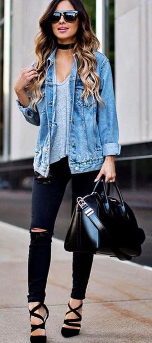 1a5bcca5f1d5 40+ cute denim jacket outfit ideas 2018 for ladies  instagood   photooftheday  beautiful  cute