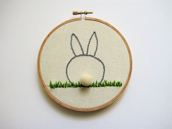 Easter Bunny Embroidery Hoop Wall Hanging by PhDstressrelief, $17.00
