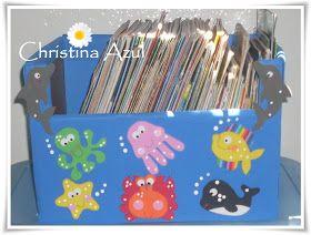 """Christina Azul: Caixa de leitura """"Bichinhos fundo do mar"""" em EVA"""