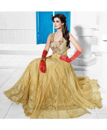 Stitched Beige Color Net Designer Gown  #ohnineone