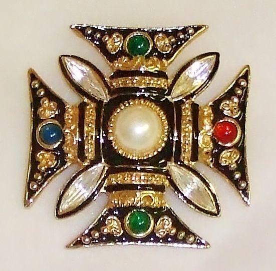 1341~Majestic Gold Tone Black Enamel Faux Pearl Rhinestone Maltese Cross Brooch* #UnisgnedFlorenza