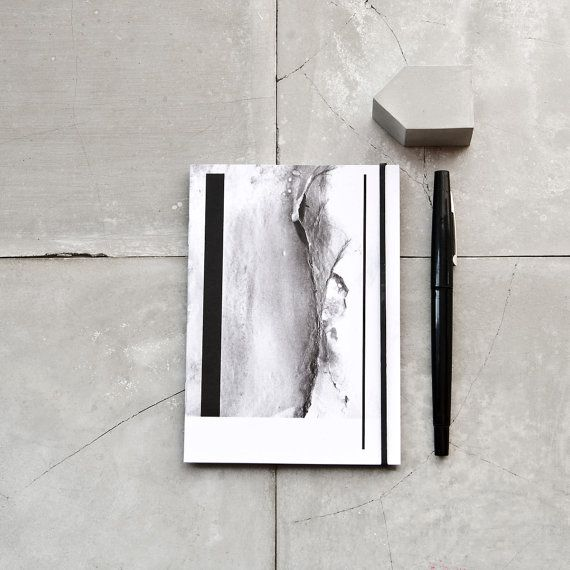 Marble and Black Lines Notebook A6 pocket journal small by PASiNGA