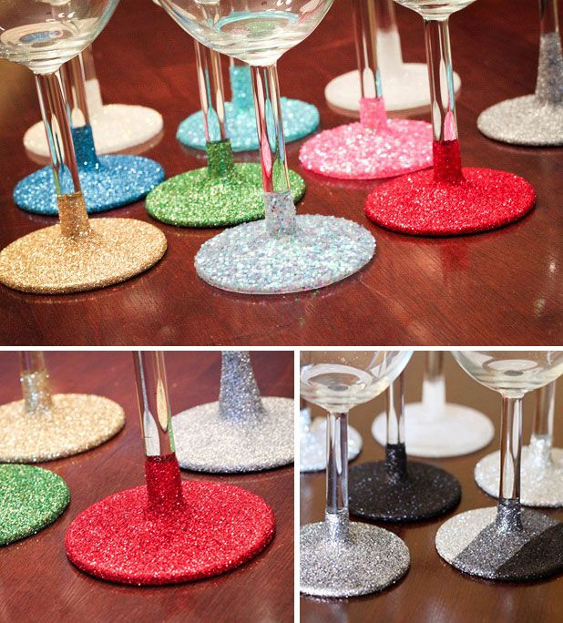 DIY WASHABLE!! Glittery Stemware  Glitter-dip wine glasses and add TWO coats of clear sealant to make them hand-washable. Now you can create glittered glassware that can be washed and re-used, like these fabulous wine glasses!