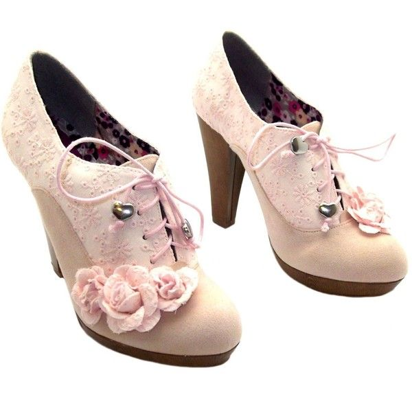 Ruby Shoo Womens Lana Latte Lace Up Light Pink High Heel Platform... ( 44)  ❤ liked on Polyvore featuring shoes 6c75a8d8ce