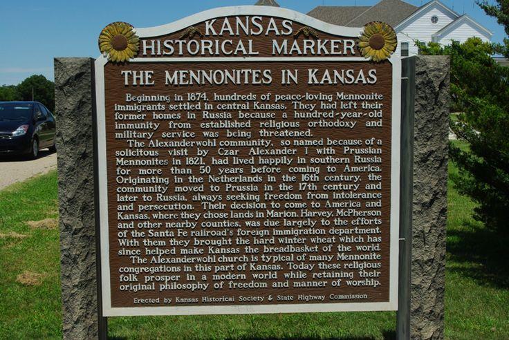 """Kansas Historical Marker, """"The Mennonites in Kansas"""""""