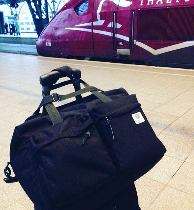 Intercity travel by train with Weekender Travel bag. www.ridgebake.com