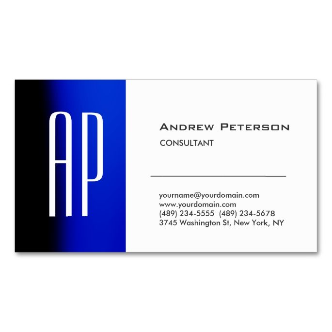 1575 best health nutrition business cards images on pinterest shop plain white blue trendy monogram business card created by hizliart personalize it with photos text or purchase as is reheart Images