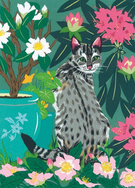 'Cat In The Garden' By Fiona Scott-Wilson. Blank Art Cards By Green Pebble. www.greenpebble.co.uk