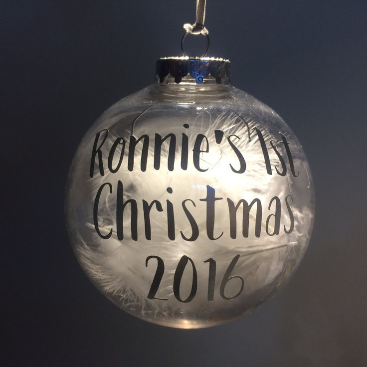 Personalised Baby's 1st Christmas feather filled bauble by TheBalloonStudio on Etsy