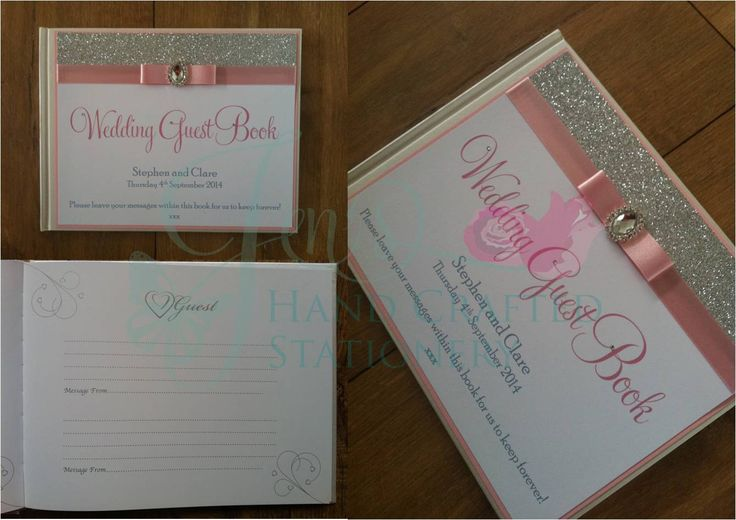 Pale pink wedding guest book with silver glitter and diamante embellishment www.jenshandcraftedstationery.co.uk www.facebook.com/jenshandcraftedstationery