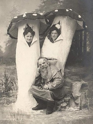 Two ladies dressed as mushrooms and  a man dressed as a gnome, German photo, 1920