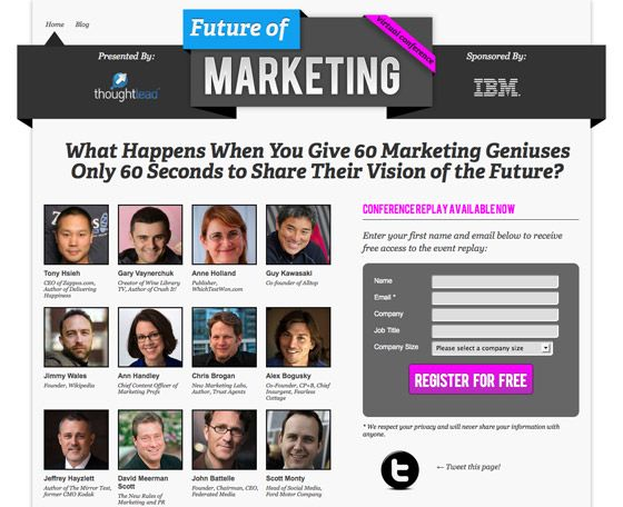 Social proof works wonders. Future of Marketing event landing page