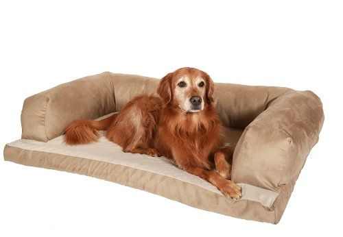 """Beasley Couch Dog Bed - Polysuede Tan - Large - 40"""" x 30"""" * You can get more details by clicking on the image. #DogBedsFurniture"""