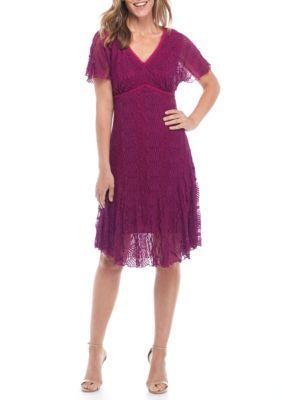 Chris Mclaughlin Women's Lace Empire Waist Dress - Berry - 10