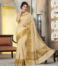 Buy cream woven Silk saree with blouse manipuri-silk-saree online