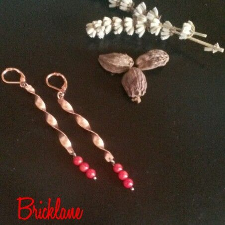 #rame #copper #handmade #handmadejewelry #bricklane #orecchini #gioielli #jewelry #earrings #elica #corallobambù