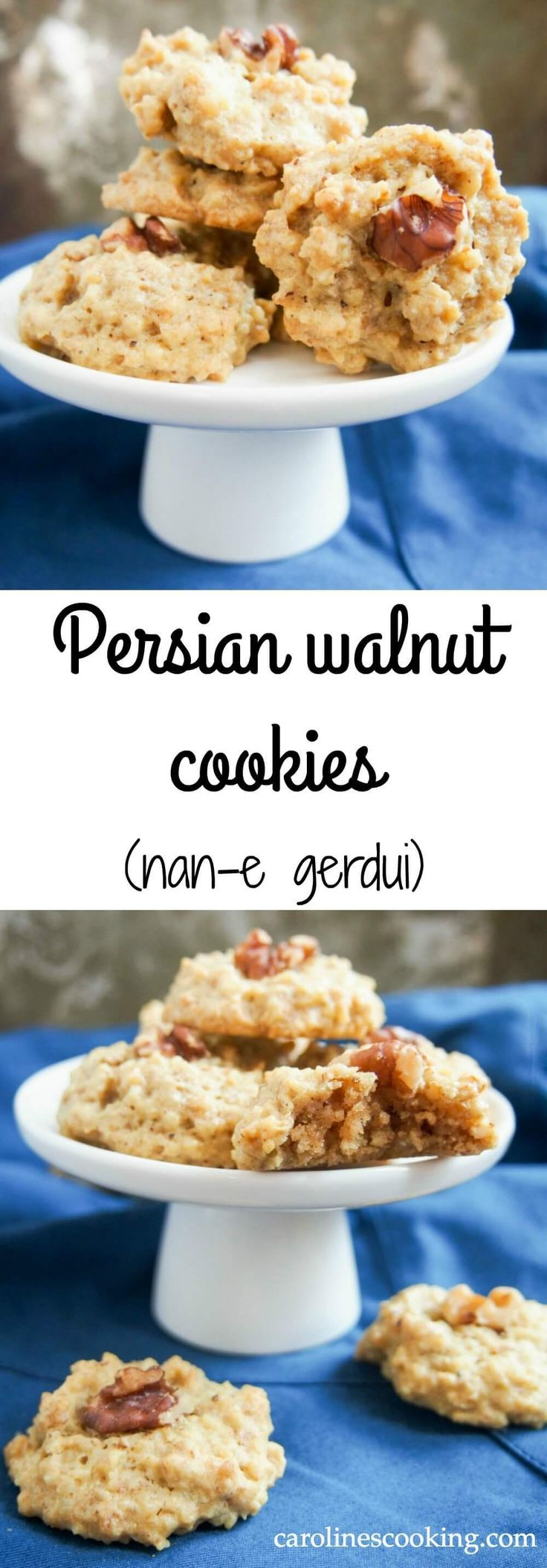 Persian walnut cookies - nan-e gerdui: These Persian walnut cookies have only 4 ingredients, are gluten free & easy to make. Traditionally for Nowruz, they're a tasty treat any time.