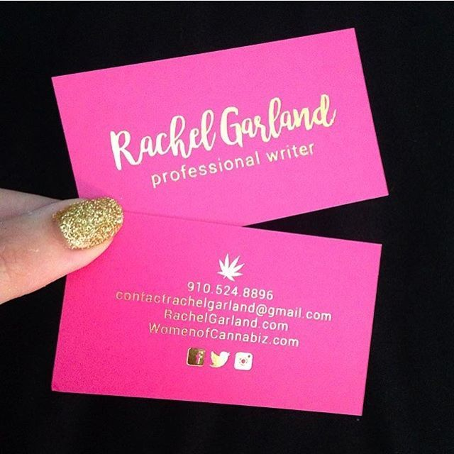 that time i designed hot pink business cards for rachel garland the gold foil is
