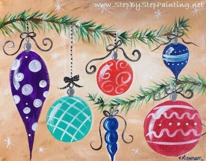 How To Paint Whimsical Ornaments Christmas Tree Painting Christmas Paintings On Canvas Christmas Paintings