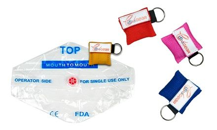 Keychain kits keep CPR masks handy in case of emergency; for use with CPR first aid
