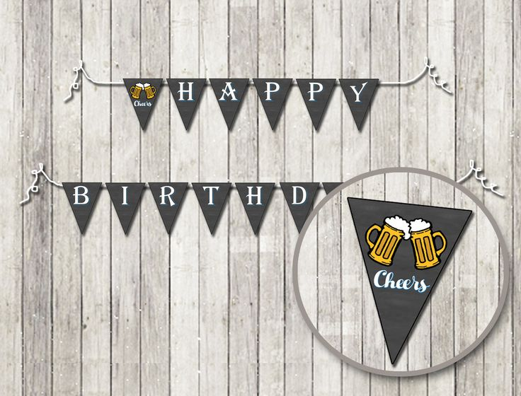 Cheers & Beers Birthday Pendant Banner | Printable Birthday Pendant Banner| DIY Birthday Pendant Banner | 21st 25th 30th 35th 40th 45th 50th by UniquelyJDesigns on Etsy