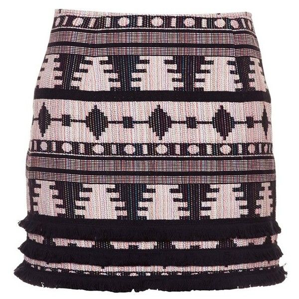 Women's Topshop Fringe Hem Pelmet Skirt ($38) ❤ liked on Polyvore featuring skirts, fringe skirts, knee length a line skirt, a-line skirt, aztec skirts and aztec print skirts