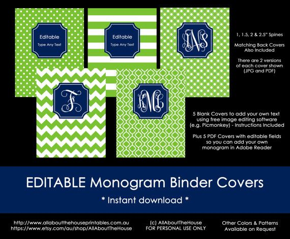 Editable Printable Monogram Binder Cover and by AllAboutTheHouse