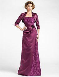 Lanting Bride® Fourreau / Colonne Grande Taille / Petite Robe de Mère de Mariée - Etole Incluse Longueur Sol Manches 3/4 Dentelle / Satin