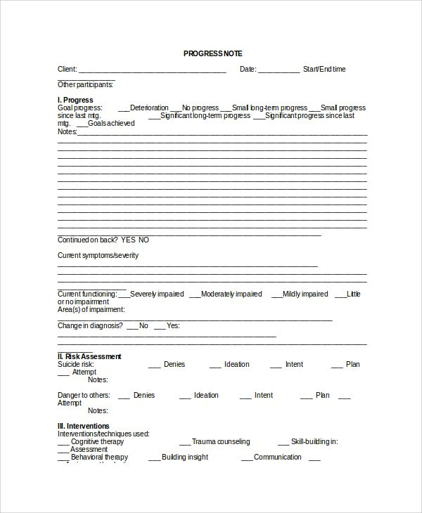 Sample Therapy Note Template - 5+ Free Documents Download ...