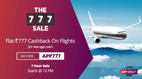 (LIVE) Ixigo App- Get Flat Rs 777 Cashback on First Domestic Flight Booking